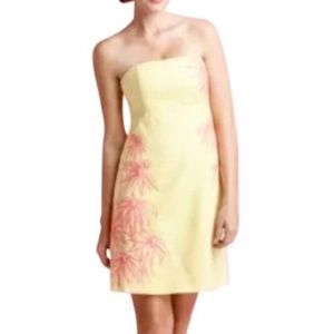 Lilly Pulitzer Yellow Bowen Strapless Floral Dress